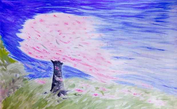 Peinture Le prunus fleuri dans latempête