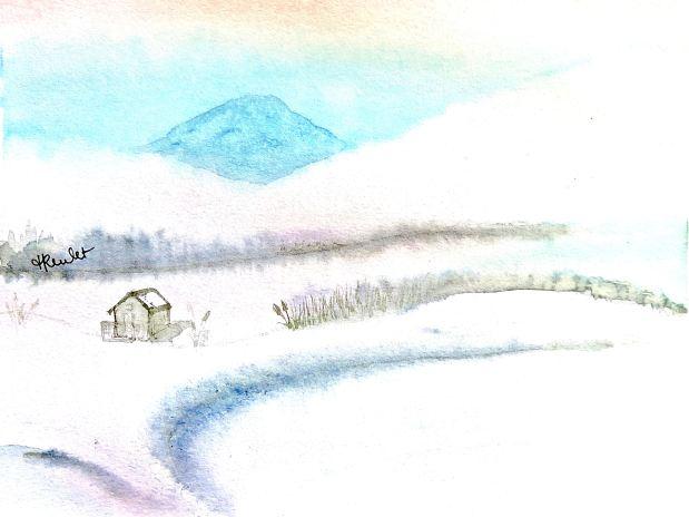 Peinture Paysage scandinave enneigé / Painting A snowy scandinavianlanscape